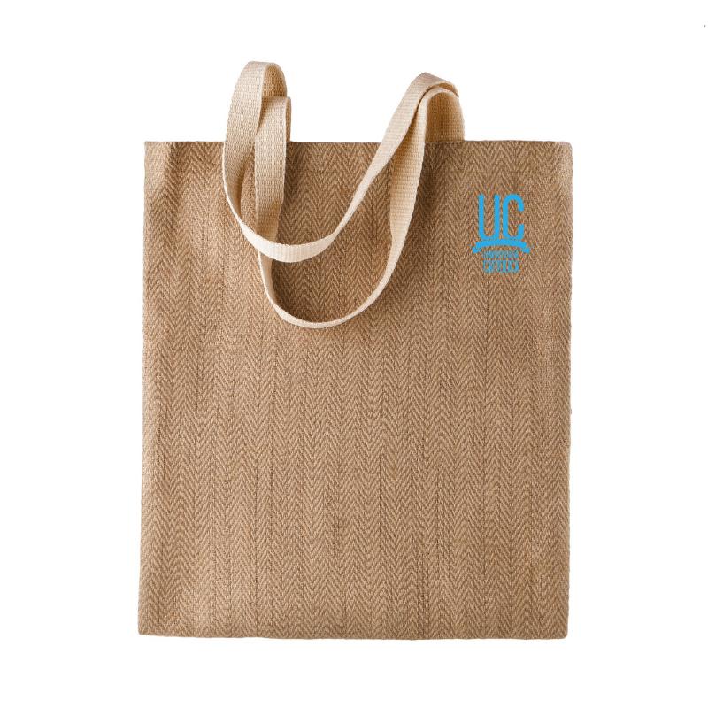 JUTE SHOPPING TOTE BAG ECRU - LIGHT BLUE EMBROIDERY
