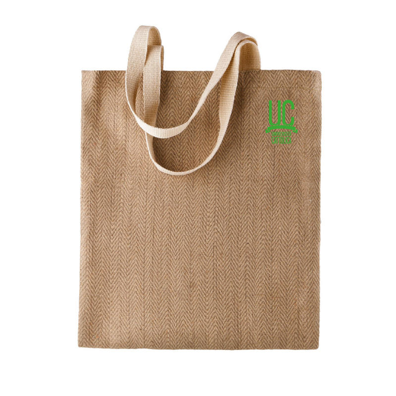 JUTE SHOPPING TOTE BAG ECRU - GREEN EMBROIDERY