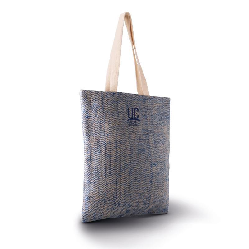 JUTE SHOPPING TOTE BAG NATURAL BLUE